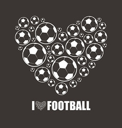 Heart from the footballs i love football vector