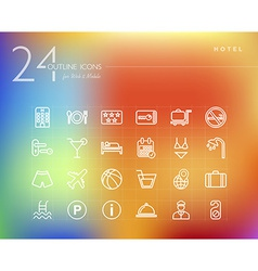 Hotel outline icons set vector image vector image