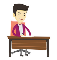 journalist writing in notebook with pencil vector image vector image