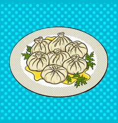 Khinkali food pop art vector