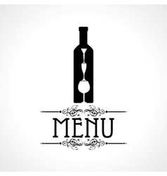 Menu card with wine glass and bottle vector
