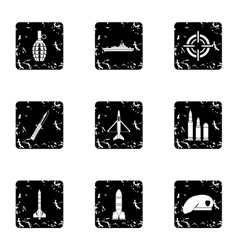 Military weapons icons set grunge style vector image
