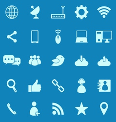 Network color icons on blue background vector