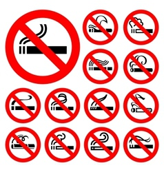 No smoking - red symbols vector image vector image