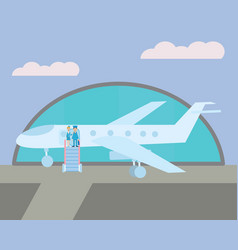 pilot and the stewardess on the plane vector image vector image