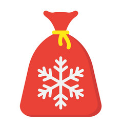 santa bag flat icon new year and christmas vector image