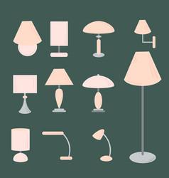 Set of different types of indoor lighting vector