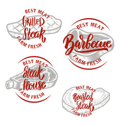 set of steak house emblem templates barbecue vector image vector image