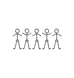 stick figure people holding hands vector image