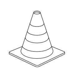 traffic cone warning sign design outline vector image