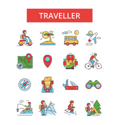 traveller thin line icons linear vector image vector image