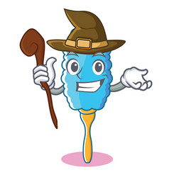 Witch feather duster character cartoon vector