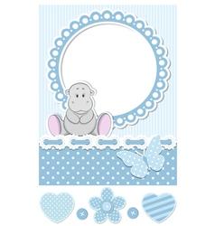 Baby hippo blue scrapbook set vector image