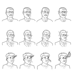 Business emotions avatars set vector