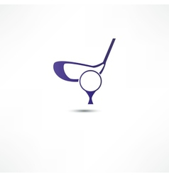 Golf ball and putter icon vector