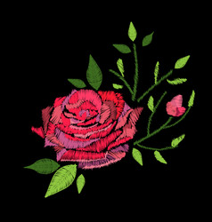 Embroidery stitches with rose flower vector