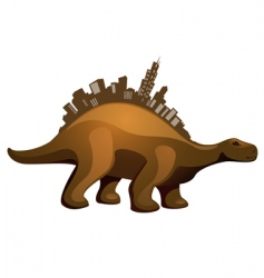Dinosaur with buildings vector