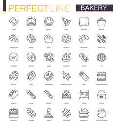 Bakery thin line web icons set pastry outline vector