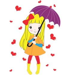 Umbrella blond girl vector