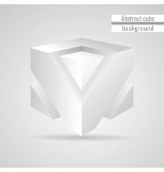 Abstract white 3d cube vector