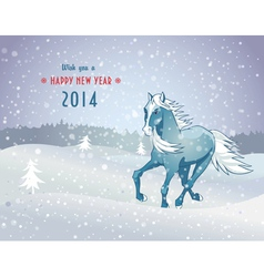 Winter landscape with snow horse new year 2014 vector