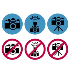 camera round icons vector image