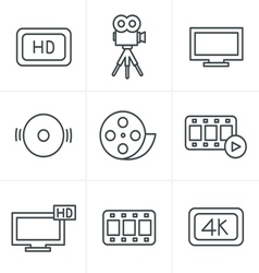 Line icons style movie icons set vector
