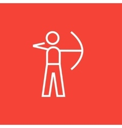 Archer training with bow line icon vector