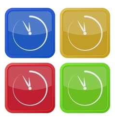 Set of four square icons with last minute clock vector