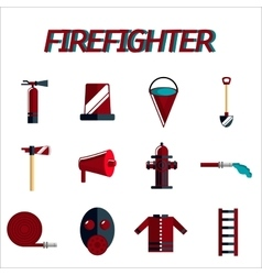 Firefighter flat icon set vector