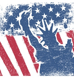 American flag and liberty statue silhouette grunge vector image