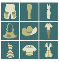 Assembly flat icons clothes vector