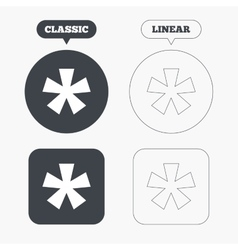 Asterisk footnote sign icon star symbol vector