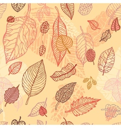 Autumn falling leaves seamless background vector image