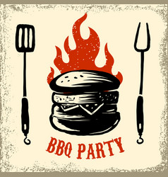 bbq party hand drawn burger on grunge background vector image