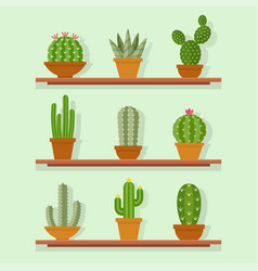 cactus icon in a flat style vector image vector image