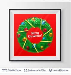 christmas decorative wreath in a frame vector image