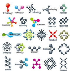 Collection of different technological logos vector