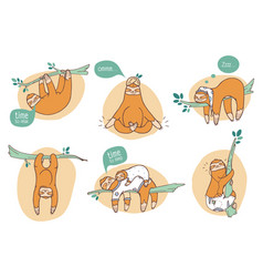 Collection of funny sloths in different postures vector