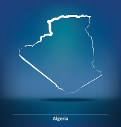 Doodle Map of Algeria vector image