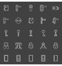 Door lock and key icons vector
