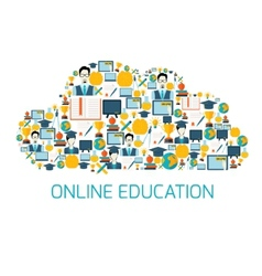 Education icons cloud vector image