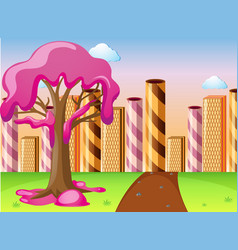 Fantacy land with candy on tree and waffle vector