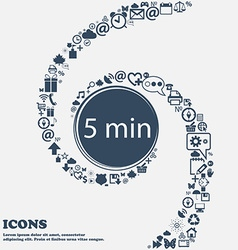 Five minutes sign icon in the center around the vector