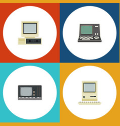 Flat icon laptop set of technology vintage vector