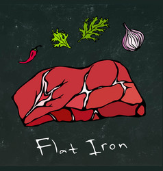 Flat iron steak cut isolated on chalkboard vector