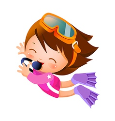 Girl snorkeling vector image vector image