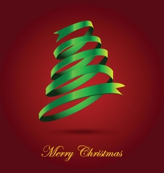 Green ribbon christmas tree on red background vector