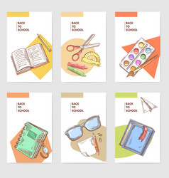 hand drawn back to school cards brochure design vector image vector image