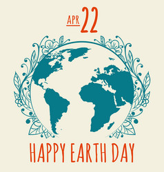 Happy earth day poster in retro style vector